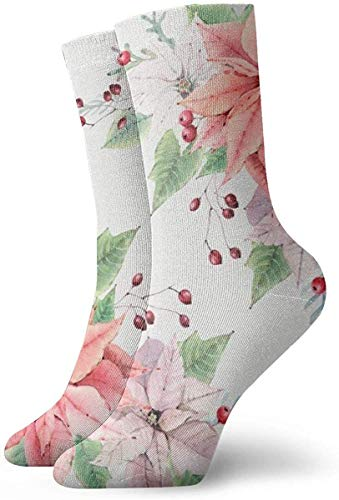 ORANGEW Poinsettia Casual Crew Socks Funny Novelty Ankle Socks Winter Socks For Men And Women - One Size Fits Most