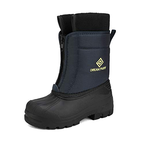 DREAM PAIRS Boys Cold Weather Insulated Waterproof Winter Snow Boots Navy Yellow Size 6 Big Kid Kstar