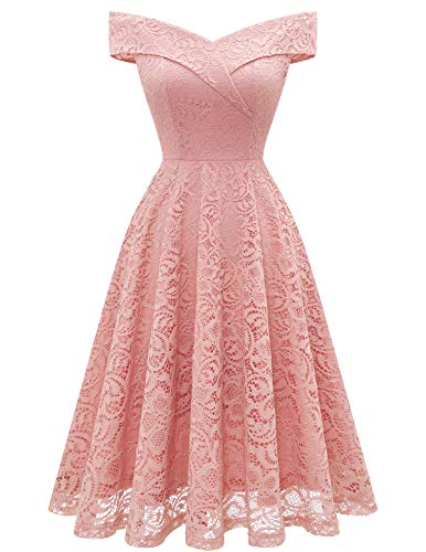 HomRain Spitzenkleid Brautjungfernkleider Elegant Party Knielang Cocktailkleid Schulterfrei Rockabilly Kleid Abendkleider -1Blush S