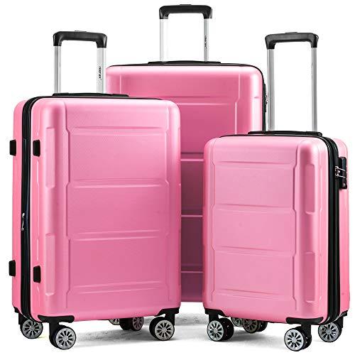 Zebery Juego de maletas rígidas y extensibles con cerradura TSA, asa telescópica y 4 ruedas, Rosa. (Rosa) - OR-DEDE-PP192235PAA