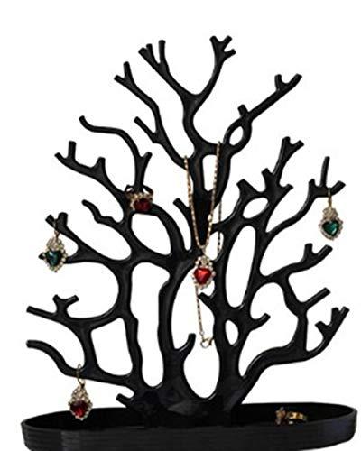 ZiYangEU Negro Blanco Coral Pendientes Collar Anillo Colgante Pulsera Casos de joyería y soporte de exhibición Bandeja Árbol Almacenamiento Joyas Mujeres Regalos (Negro)
