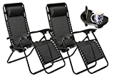 SUNMER Set of 2 Sun Lounger Garden Chairs With Cup And Phone Holder | Deck Folding Recliner Zero Gravity Outdoor Chair - Black