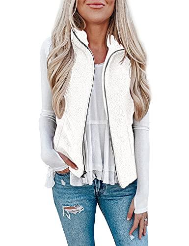 LOMON Women's Casual Sherpa Fleece Vest Fall Warm Fuzzy Overwear Lightweight Zip Up Jacket with Pockets White M