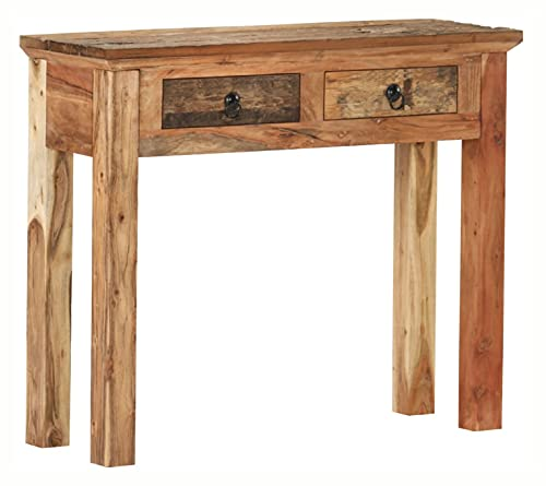 END TABLE CONSOLE TABLE 35.6X11.8X29.5 SOLID ACACIA WOOD AND RECLAIMED WOOD