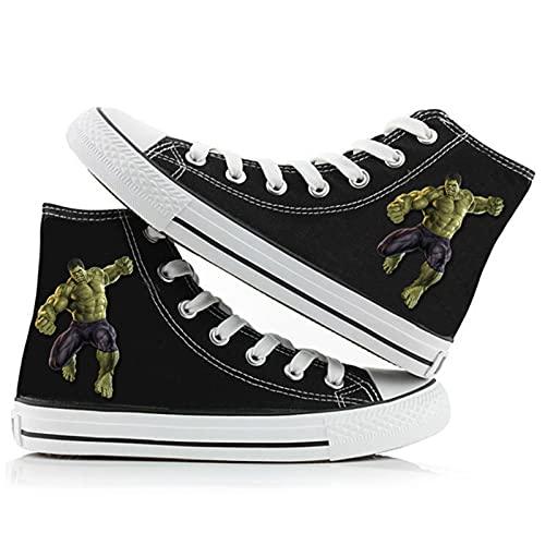 NBAOK Aven/gers Wolverine Hulk Zapatillas de Lona Zapatillas de Baloncesto de Moda Zapatos de Lona para Estudiantes Zapatos con Cordones Tops Altos Zapatos Acolchados en el Tobillo