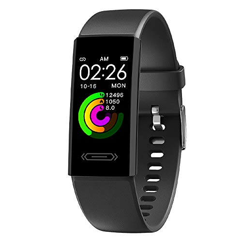 2021 Fitness Activity Tracker with Body Temperature Heart Rate Sleep Health Monitor IP68 Waterproo Pedometer Step Calorie Counter Watch for Women Men Teens (Black)