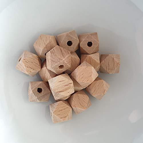 Holzhexagon 5 Stück 12mm Buche DIY Bastelmaterial für Schnullerkette Holzperle