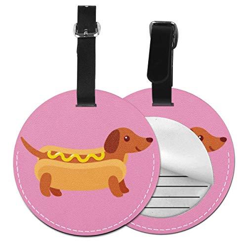 Kofferanhänger PU Leder Hund Hot Dog Bun Senf auf, Gepäckanhänger ID Etikett Mit Adressschild Namenschild für Reisetasche Koffer