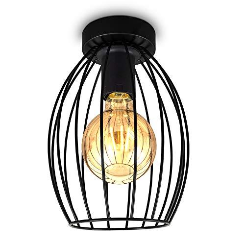 B.K.Licht I plafonnier cage métallique I douille E27 I Interrupteur à câble I lustre design industriel vintage I Hauteur 25,6 cm I Noir I livrée sans ampoule