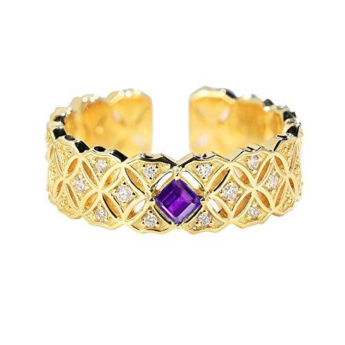 ANAZOZ Echtschmuck Gold Ring Damen 750 Echt 18 Karat Gelbgold Trauring Münze Reichtum Glück Hohle 0.1ct Amethyst Diamant Prinzessschliff Au 750 Gr. 52 (16.6)