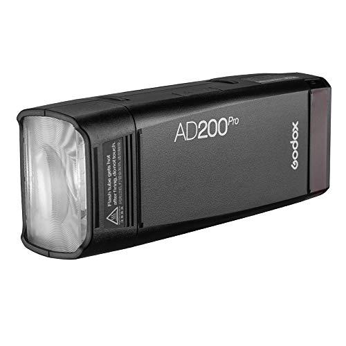 Godox AD200pro Outdoor Flash Pocket Flash 2.4G TTL Speedlite Flash Strobe HSS Monolight con 2900mAh Batería de Litio 200WS y Cabezal de Flash de Bombilla Descubierta para Cubrir 500 Destellos
