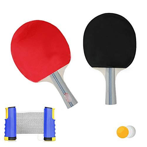 LHR Juego De Tenis De Mesa Retráctil, El Juego De Ping Pong De Mesa Incluye 1 Poste De Red Retráctil 2 Paletas De Ping Pong 3 Piezas De Bolas Entrenamiento En Casa