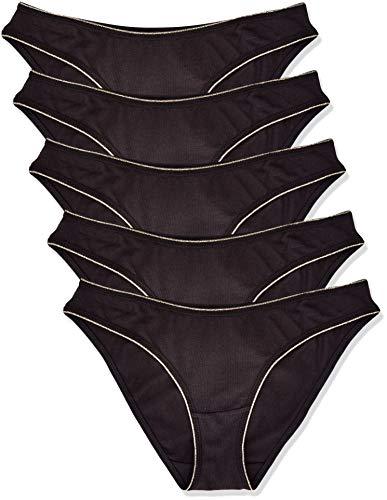Amazon-Marke: Iris & Lilly Damen Brazilian-Slip aus Baumwolle, 5er-Pack, Schwarz (Black), XL, Label: XL
