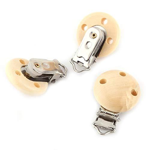 DAUERHAFT Clips de Chupete de Madera de Haya Natural Clips de Chupete, para unirlos a la Ropa y al Tirador de bebé Chupete de Madera