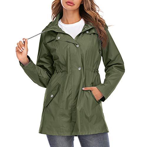 Casaco de chuva feminino Romacci com capuz e zíper impermeável para uso ao ar livre, Dark Green, L