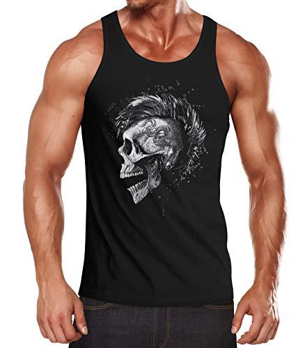 Neverless® Herren Tank-Top Punk Mohawk Skull Muskelshirt Irokese Muscle Shirt schwarz M