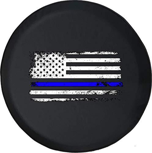 Hokdny Cubiertas De Neumáticos para Rueda De Repuesto Bandera Americana Vintage Delgada Línea Azul Negra A Prueba De Polvo, Impermeable, Protección Solar Y Protección contra La Corrosión.