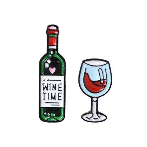 FISH4 2 Pz/Set Spille per Bottiglie e Vino Spille per Risvolto Spille smaltate Distintivi Spille per Uomo Donna Uni Coppia Gioielli
