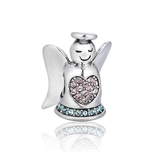 Pendentif en Argent 925 pour Femme,Creative Fashion Cute Pink Angel Zircon Collier Perles Bracelet Forme Charme pour Mesdames Le Cadeau d'anniversaire De Colocalisation Robe Présentation du Festi