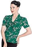 Hell Bunny 40s 50s Pin Up, diseño de pájaro Landgirl WW2Retro Vintage Estilo Blusa (S, Verde)...