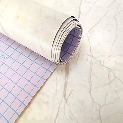 LUTE Marble Wallpaper Matte Granite Vinyl Film Self-Adhesive Removable Golden Brown Peel and Stick Decorative Wall Covering for Furniture Bathroom Waterproof Contact Paper, 17.5 x 78.7 inch