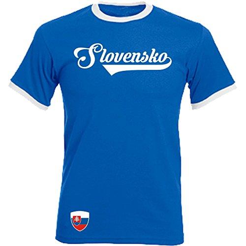 Slowakei - Ringer Retro TS - blau - EM 2016 T-Shirt Trikot Look Slovakia (XXL)