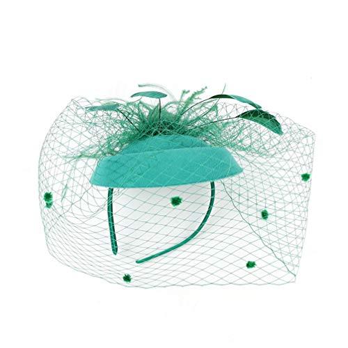 cappello 50 anni Minkissy affascinanti cappelli cappello anni '50 anni '50 cappello portapillole cocktail tea party copricapo con velo puntelli foto per ragazze e donne verde