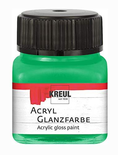Kreul 79208 Acryl Glanzfarbe, 20 ml Glas in grün, glänzend-glatte Acrylfarbe zum Anmalen und Basteln, auf Wasserbasis, speichelecht, schnelltrocknend und deckend