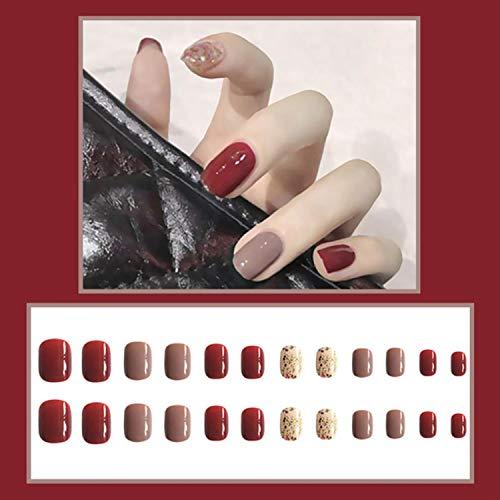 24Pcs/Box Full Cover Detachable Short False Nails Glitter Fake Nails with Jelly Glue Ballerina Sweet Style Manicure Art