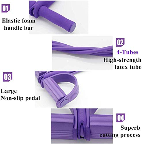 COLEN Foot Pedal Resistance Band, 4-Tube Natural Latex Sit-up Bodybuilding Expander, Elastic Pull Rope Fitness Equipment, for Abdomen, Waist, Arm, Yoga Stretching Slimming Training (Purple)