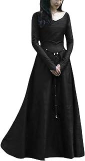 PengGengA Disfraz De V Cuello En V Medieval para Mujer Vestido Largo Manga Larga Vintage