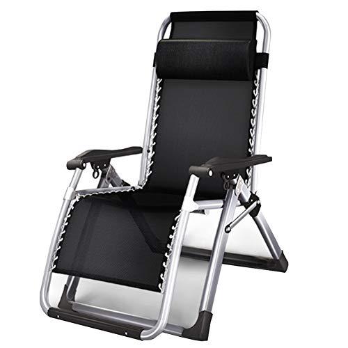 TH Chaise Longue Fauteuil Inclinable Pliant Zero Gravity, Idéal pour Le Camping, Chaise Longue de Balcon de Jardin de Plage, Capacité de Charge 150 Kg, Noir