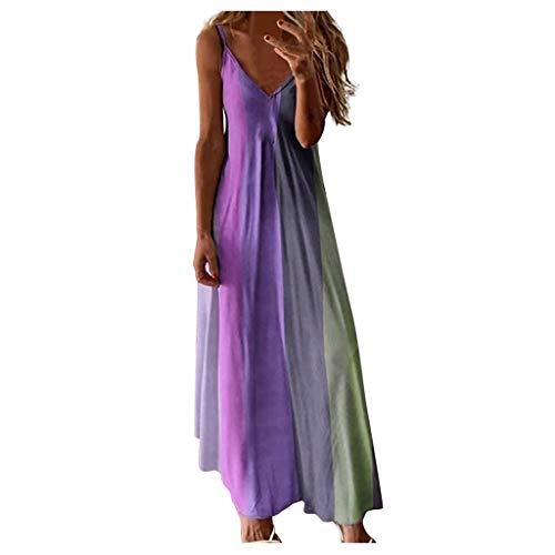 Robe Longue Sexy Boheme Femme Impression Tie Dye/Rayures Robe Maxi sans Manches Robe de Soiree Fête Été Robe de Plage Ete Chic Maxi Robe Sexy Grande Taille à Col en V pour Femme JIekyoi