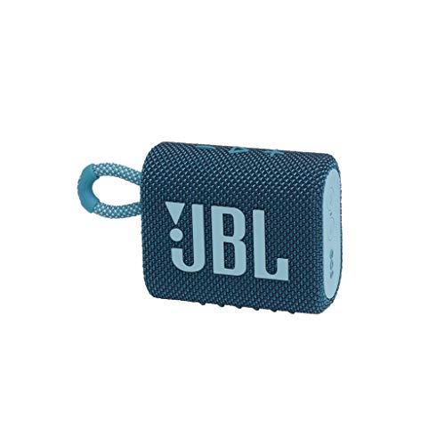 JBL GO 3 kleine Bluetooth Box in Blau – Wasserfester, tragbarer Lautsprecher für unterwegs – Bis zu 5h Wiedergabezeit mit nur einer Akkuladung