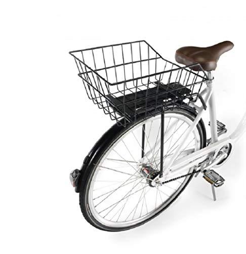 Ducomi Cesta Bicicleta Trasera Universal - Adultos, Niños o Perros (41 x 26 x 20 cm) Cesta Almacenaje de Metal Resistente a Oxidación - Bicicletas Vintage, Holandesas y Urbanas (Trasera)