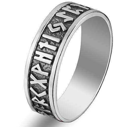 Viking Rune Band Ring Sterling Silver 925 Elder Futhark Nordic Runic Symbols Pagan Celtic Wedding Thumb Rings Norse Scandinavian Jewelry for Men Women (8)