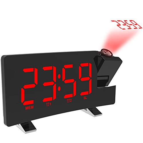 CHEIRS Projektionswecker Kinder Mit USB-ladeanschluss, 15 Fm Radio Wecker, 4 Dimmer, 180 ° Projektor Wecker Mit Projektion an Der Decke, Kinder/Erwachsene,Red