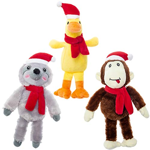 EXPAWLORER Christmas Dog Squeaky Plush Toys 3 Pack - Monkey, Sloth, Duck with Xmas Hat Chew Toys