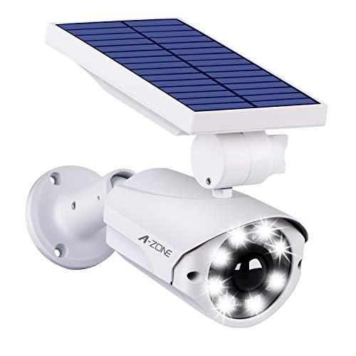 センサーライト 屋外 ソーラーライト A-ZONE 人感センサーライト 防犯カメラ型 IP66防水・防塵 省エネ 太陽光充電 配線・電源不要 ダミーカメラ 8LED 自動夜間点灯 人感検知 360°角度調節可能 壁掛け庭先 玄関周りなど対応 (1台セット)