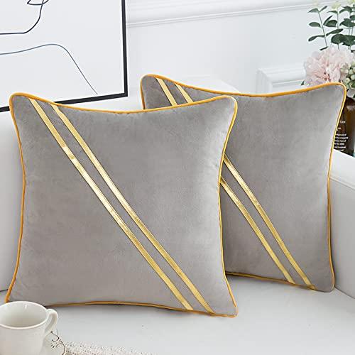 Fundas de Cojines 45x45 Modernas para Sofá Decorativa Lujoso Terciopelo Funda de Almohada para Cojín Cuadrado Gris Empalme con Dorado Rayas,2 Piezas