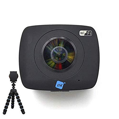 NK AC3091-36D - Cámara Acción Deportiva 360º, FullHD 1080p, Doble Óptica, Sistema Realidad Virtual, Soporte 360º YouTube, 1400 mAh, Micrófono, Compatible Android & iOS, Trípode de Regalo, Negro