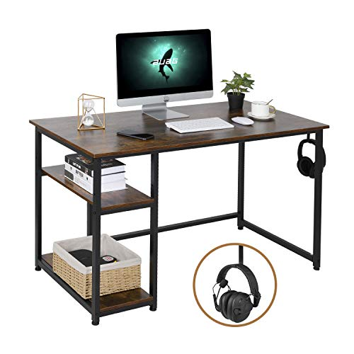 AuAg Computertisch, Schreibtisch, Bürotisch, mit 2 Regalebenen 120cm Arbeitstisch mit Verstellbares Ablagen Vintage Hölzern PC Tisch mit Hake, fürs Büro, Wohnzimmer Industriestil (Rustikales Braun)