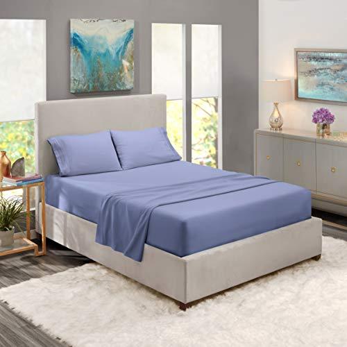 Nestl Deep Pocket Split King Sheets: 5 Piece Split King Size Bed Sheets with Fitted Sheet, Flat Sheet, Pillow Cases - Extra Soft Bedsheet Set with Deep Pockets for Split King Mattress - Steel Blue