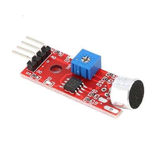 Ballylelly KY-037 Módulo de Sensor de detección de Sonido de Voz de 4 Pines Transmisor de micrófono Robot Inteligente Coche para Arduino Herramienta electrónica de Bricolaje