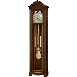 Howard Miller Nicea Floor Clock 611-176 – Lightly Distressed Saratoga Cherry Grandfather Vertical Home Decor with Chain-Driven, Single-Chime Movement