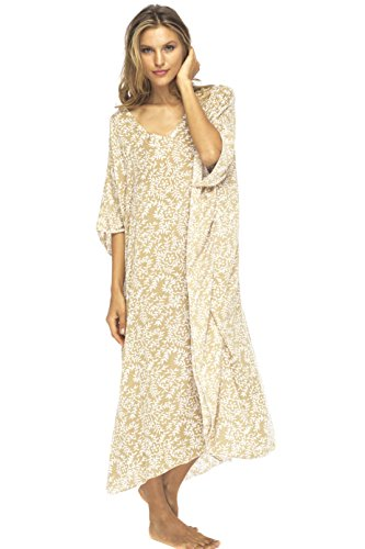 Back From Bali Womens Loose Maxi Beach Dress Cover Up Long Poncho Bun Mocca
