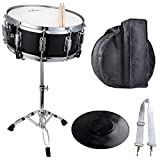 ADM Student Snare Drum Set with Gig Bag, Sticks, Stand & Practice Pad Kit, Black