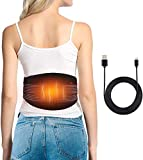 Heated Waist Belt, Lower Back Brace Support Heating Pad, for Warming Back, Stomach Abdominal Tension, Portable Electric USB Belly Wrap for Waist Warm Abdomen, Fits Men Women, Power Bank Not Included