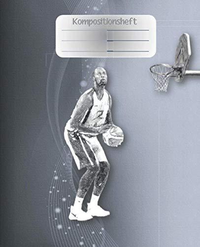 Kompositionsheft: E.| Basketball-Notizbuch | GRAFIKPAPIER (7,5 x 9,25 Zoll) 110 Seiten | Für Jungen Mädchen Kinder Jugendliche Studenten | Basketball-kompositions-notizbuch |
