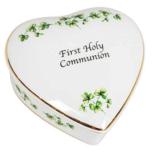 CBE First Holy Communion Irish Shamrocks Porcelain Heart Shaped Keepsake Box
